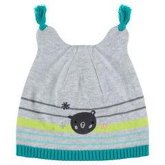Bonnet en tricot avec ourson brodé et oreilles en relief