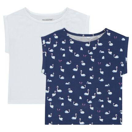 Lot de 2 Tee-shirt manches courtes forme boîte en jersey