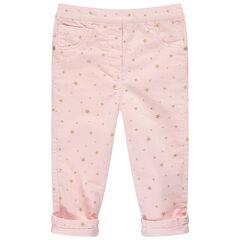 Pantalon en velours milleraies avec étoiles dorées printées
