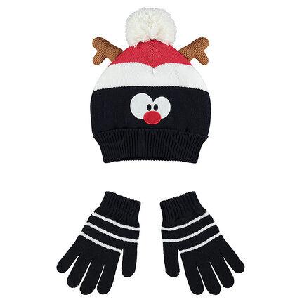 Ensemble bonnet et gants avec doublure sherpa motif renne