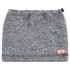 Snood en tricot chiné avec cordons de serrage et masque patché