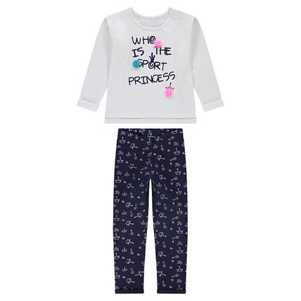 Jogging en molleton avec texte en sequins et pantalon imprimé all-over