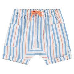 Bermuda en coton avec rayures contrastées et poches