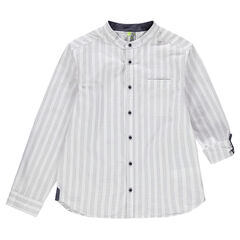Junior - Chemise manches longues col mao à rayures verticales