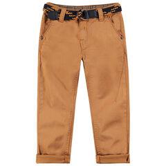 Pantalon en coton surteint avec ceinture tressée amovible