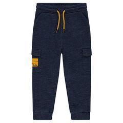 Pantalon de jogging en molleton chiné avec poches à rabat