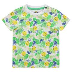Tee-shirt manches courtes avec imprimé tropical et ©Smiley printé