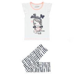Pyjama en jersey avec tee-shirt print poupée et legging rayé