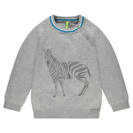 Pull en tricot avec zèbres printé