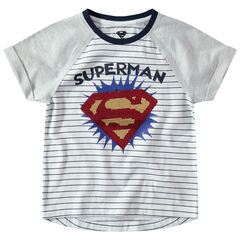 c6cb319ab7089 Tee-shirt manches courtes raglan avec logo Warner Superman en sequins  magiques