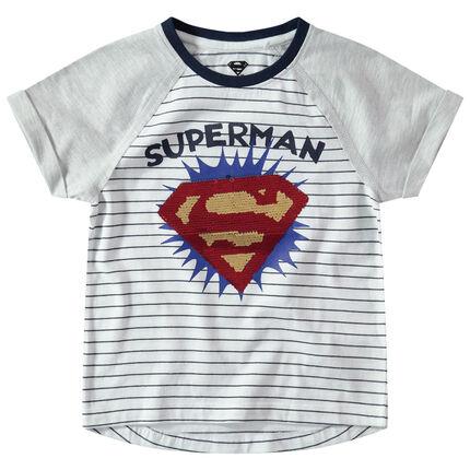 Tee-shirt manches courtes raglan avec logo Warner Superman en sequins magiques