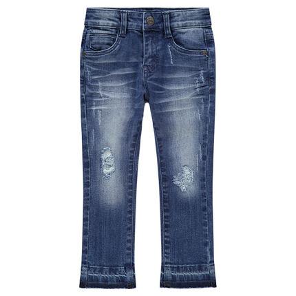 Jeans effet used et crinkle avec usures et inscription printée au dos