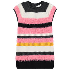 Robe manches courtes à rayures en tricot fantaisie