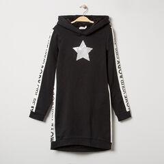 Junior - Robe en molleton à capuche avec bandes à inscriptions contrastées