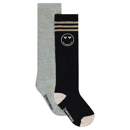 Lot de 2 paires de chaussettes hautes avec motif ©Smiley en lurex