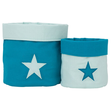 Set de 2 boites de rangement en tissu patch étoile
