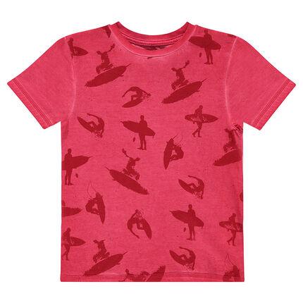 Tee-shirt manches courtes surteint imprimé all-over