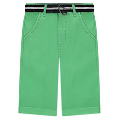 Bermuda en twill vert uni avec ceinture