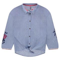 Junior - Chemise manches longues rayée avec fleurs brodées