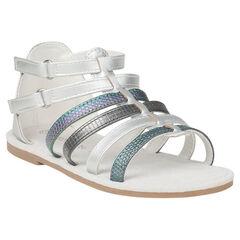 Nu-pieds argentés style spartiates