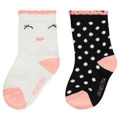 Lot de 2 paires de chaussettes assorties avec motifs jacquard fantaisie