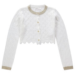 Gilet de érémonie court en tricot ajouré avec détails dorés