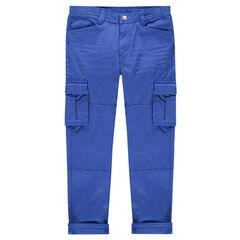 Junior - Pantalon bleu style cargo avec poches à rabat