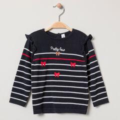 Pull en tricot esprit marin à noeuds brodés et volants