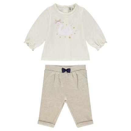 Ensemble tee-shirt printé et pantalon en molleton avec noeud