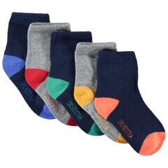 Lot de 5 paires de chaussettes unies avec bout et talon contrastés