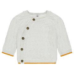 Pull en tricot avec motif jacquard et ouverture devant