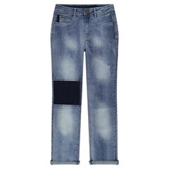 Junior - Jeans effet used avec empiècements contrastés