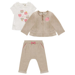 Ensemble 3 pièces avec tee-shirt printé, gilet zippé et pantalon en molleton
