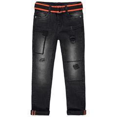 Jean effet used à ceinture contrastée amovible et usures