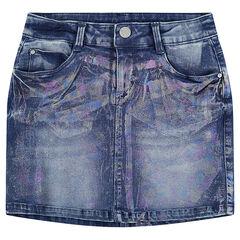 Junior - Jupe en jeans effet used et crinkle avec enduction arc-en-ciel