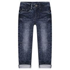 Junior - Jeans en molleton effet used et crinkle