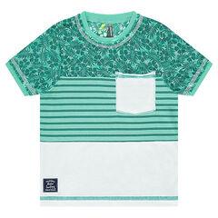 Tee-shirt manches courtes avec rayures et imprimé végétal