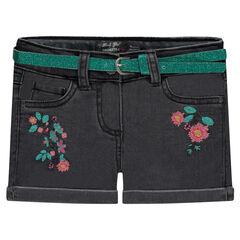 Short en jeans brodé avec ceinture pailletée