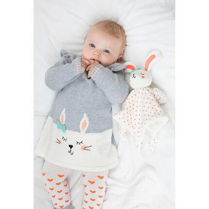 Robe manches longues en tricot avec lapin en jacquard et volants