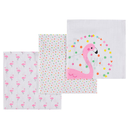 Set de 3 langes en tétra motif flamants roses