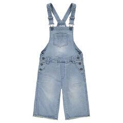 Junior - Salopette en jeans effet used avec bas des jambes évasé