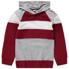 Junior - Pull en tricot à capuche avec maille ottoman