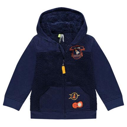 Veste en molleton doublée sherpa avec badges patchés