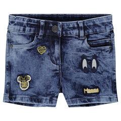Short en jeans effet used avec badges Minnie ©Disney