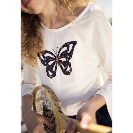 Junior - Tee-shirt à manches volantées et papillon en sequins