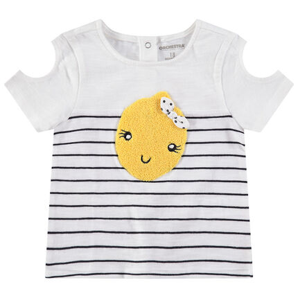 T-shirt manches courtes en jersey à épaules ajourées et citron en bouclette