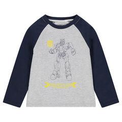 Tee-shirt manches longues bicolore en jersey avec print ©Transformers