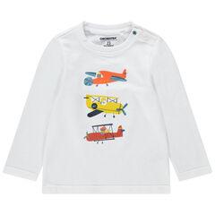 T-shirt manches longues en maille avec avions printés