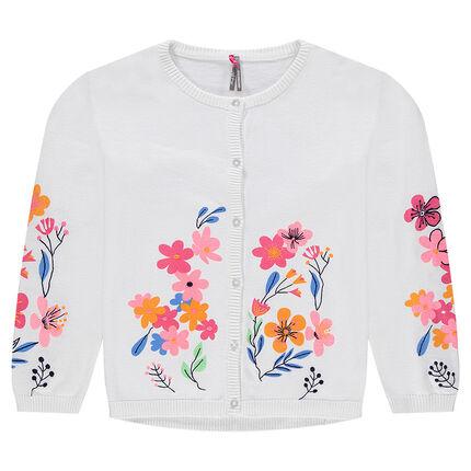 Gilet en tricot avec fleurs printées et détails brodés