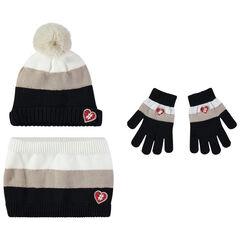 Ensemble bonnet, gants et snood en tricot à badges forme coeur , Orchestra